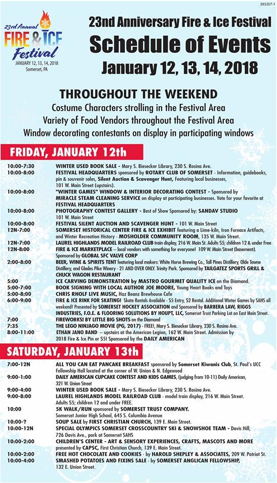 2018 Fire & Ice Schedule